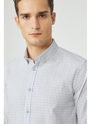 Avva Erkek  Baskılı Alttan Britli Gömlek A02Y2043 Mavi